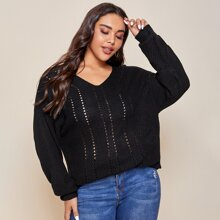 Plus Pointelle Knit V-neck Solid Sweater