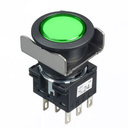 Idec LB16mm PBI rnd DPDT main 24VAC/DC gn