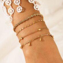4 Stuecke Armband mit Quasten Anhaenger