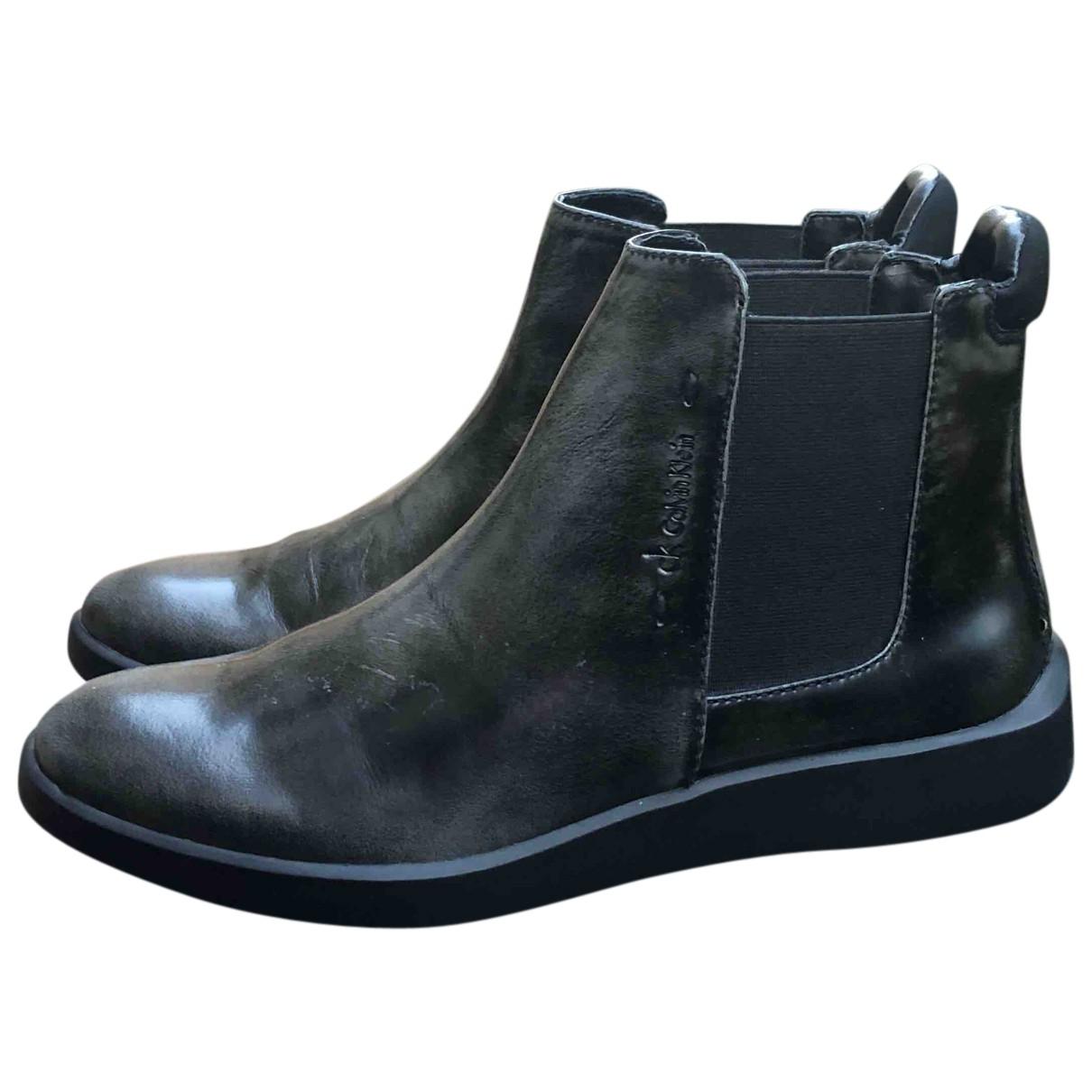 Calvin Klein - Boots   pour femme en cuir - gris
