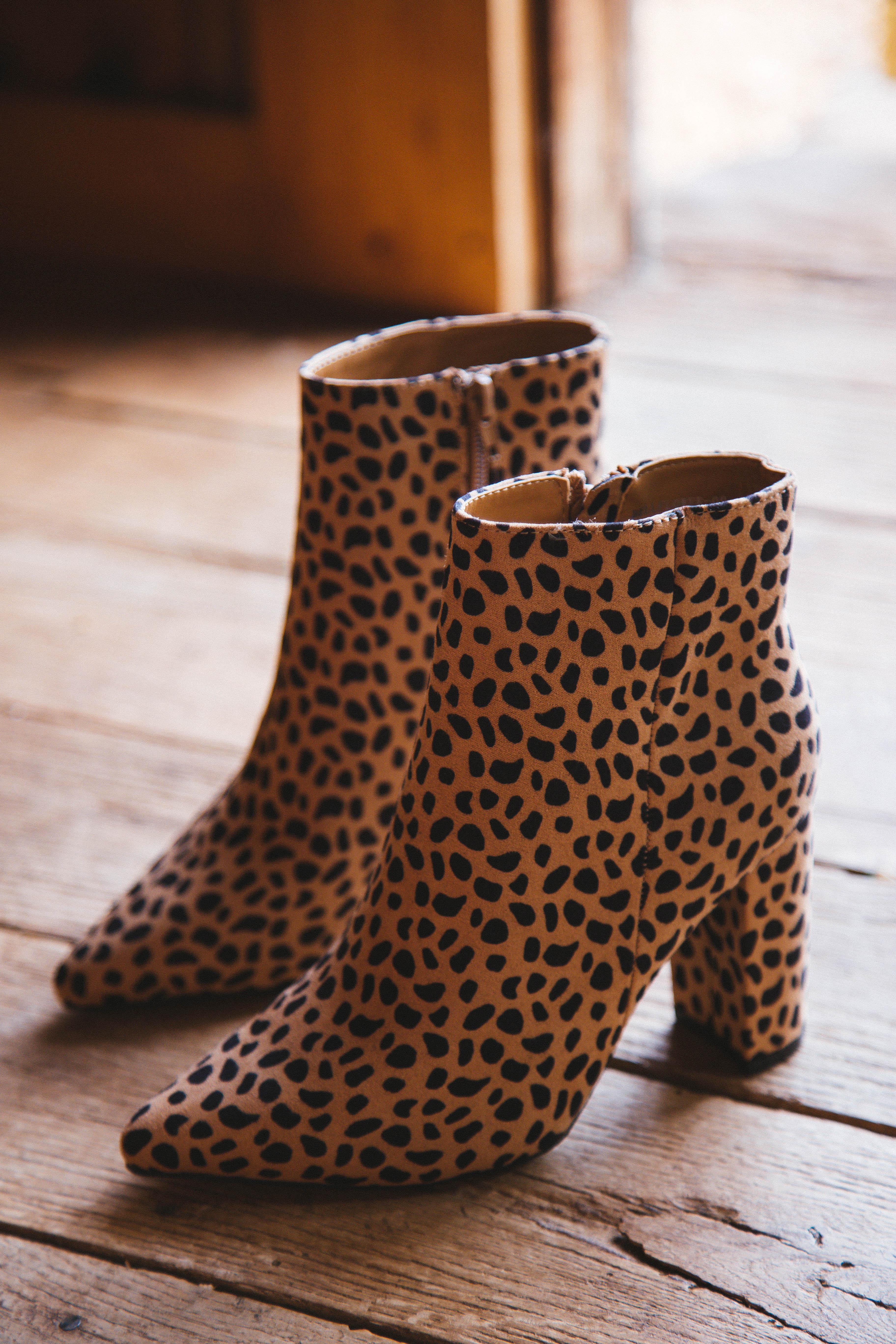 Bellflower Pointed Toe Heeled Bootie Cheetah