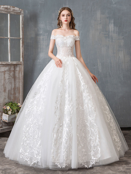 Milanoo Wedding Dresses 2020 Ball Gown Off Shoulder Floor Length Lace Appliqued Bridal Dress Pageant Dresses