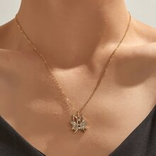 Rhinestone Decor Butterfly Charm Necklace