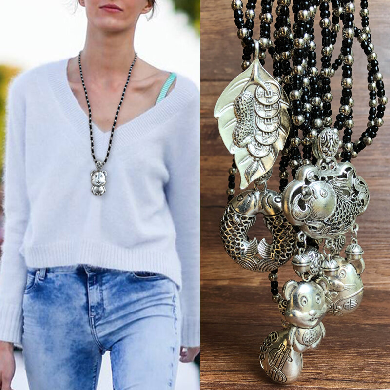 1Pc Trendy Vintage Ancient Silver Pendant Necklace Three-Dimensional Relief Zodiac Animals Pisces Women Sweater Chain