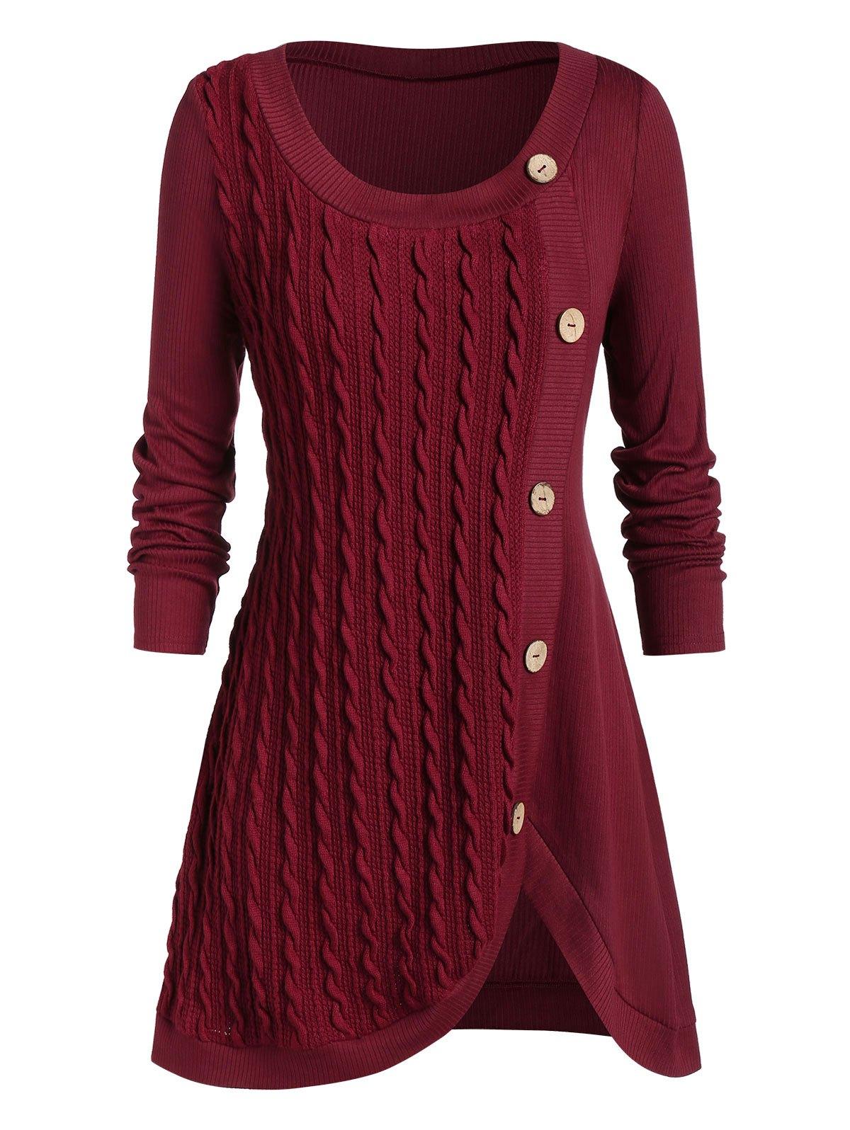 Plus Size Split Buttoned Cable Knit Sweater