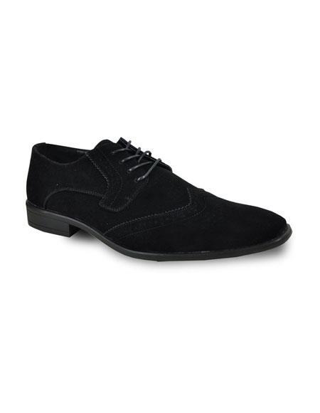 Men's Black Lace Up Tuxedo Suede Shoes