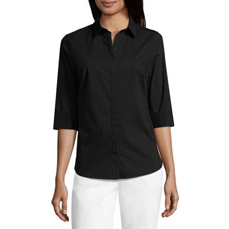 Liz Claiborne 3/4 Sleeve Button Front Shirt, X-small , Black