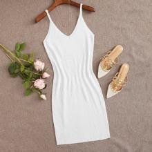 Solid Rib-Knit Cami Dress
