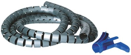 HellermannTyton Spiral Wrap, I.D 8mm 9mm Polypropylene Helawrap Series, White