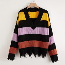 Plus V-neck Color-block Distressed Sweater