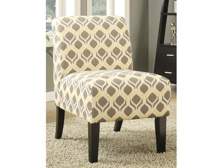 Ollano Collection 59440 Accent Chair  Padded Seat & Back  Tight Back & Seat Cushion  Wood Tapered Leg Dark Brown  in Pattern Gray and Yellow