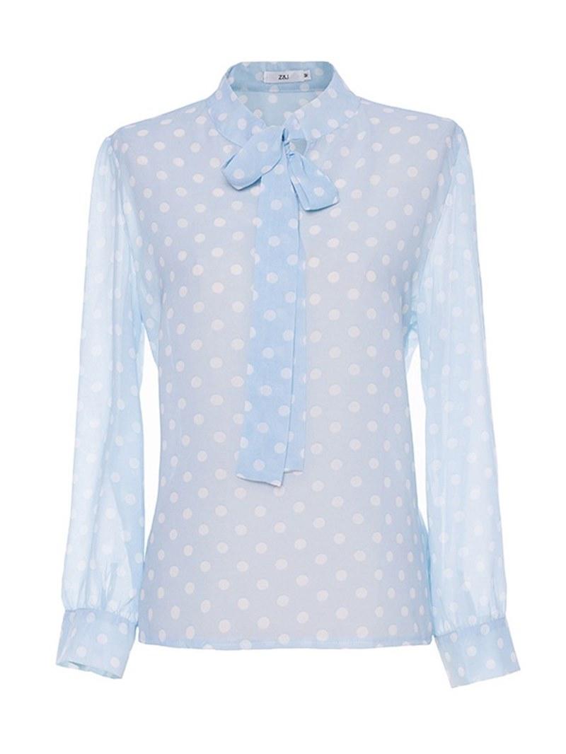 Ericdress Polka Dots Print Tie Front Womens Top