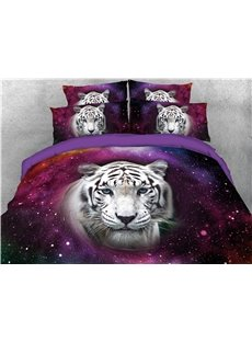 White Tiger Head and Spiral Red Galaxy Printed 3D 4-Piece Bedding Sets/Duvet Covers