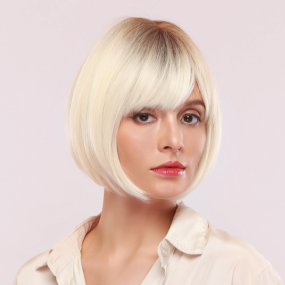 11 Inch White Gold Bangs Synthetic Wig Thin-Light Breathable Short Straight Hair Wig