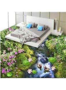 Natural Beautiful Stream and Flower Pattern Waterproof and Antiskid Splicing 3D Floor Murals