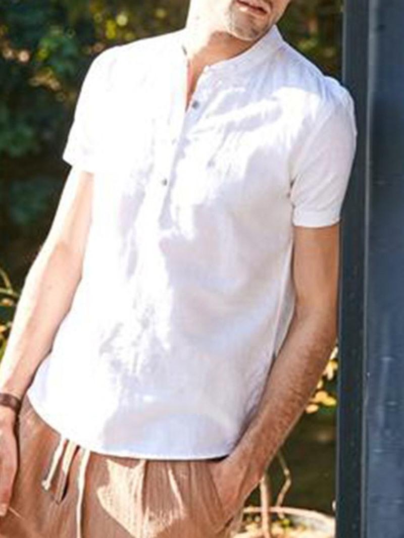 Ericdress Plain Casual Stand Collar Loose Mens Shirt