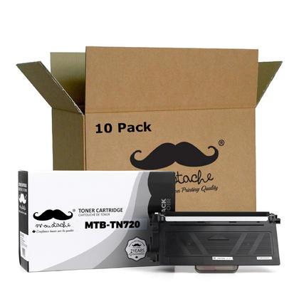 Compatible Brother TN720 cartouche de toner noire de Moustache, 10 paquet