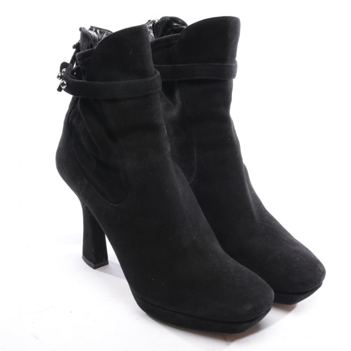 Miu Miu - Boots   pour femme en suede - noir