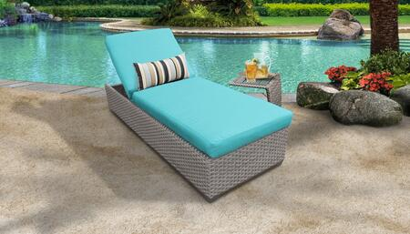 Florence Collection FLORENCE-1x-ST-ARUBA Patio Set with 1 Chaise   1 Side Table - Grey and Aruba