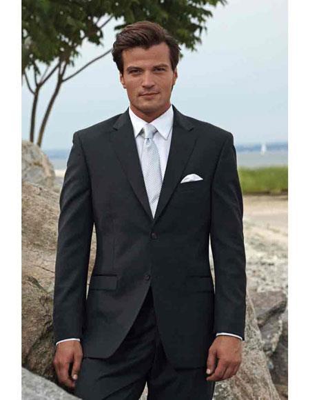 Mens 2button notch side vented black suit white shirt grey tie SlimFit