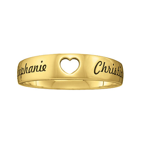 Personalized Couples Names Cutout Heart Band Ring, 6 , Yellow