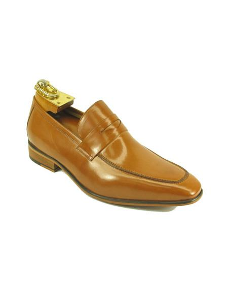 Mens Slip On Leather Loafers by Carrucci - Tan
