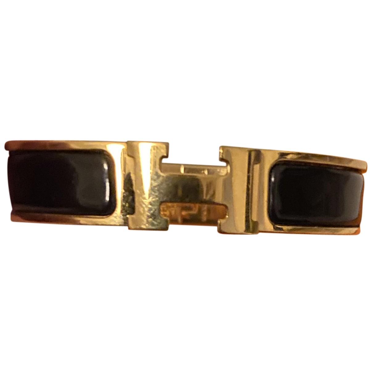 Hermes Clic H Armband in  Schwarz Vergoldet