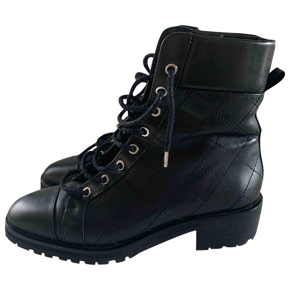 Massimo Dutti \N Black Leather Boots for Women 38 EU