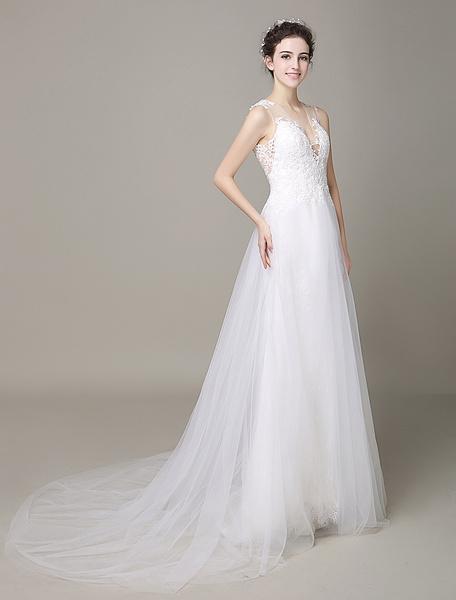 Milanoo Marfil Vestido de novia de tul con cuello en V y encaje