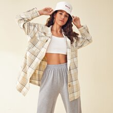 Collared Single Breasted Pocket Front Plaid Coat