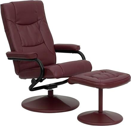 BT-7862-BURG-GG Multi-Position Recliner and Ottoman with Swivel Seat  Plush Arms  Wrapped Pedestal Base  Integrated Headrest and LeatherSoft