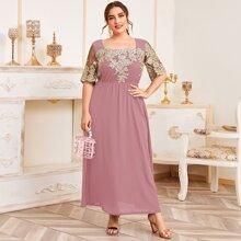 Vestido linea A con malla con bordado floral
