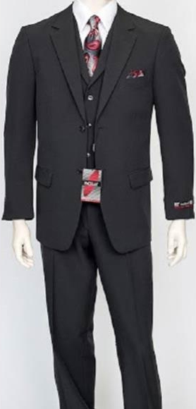 Men's 3 Piece Poly Poplin Charcoal Vest Dress Suit Wth Pleated Pant