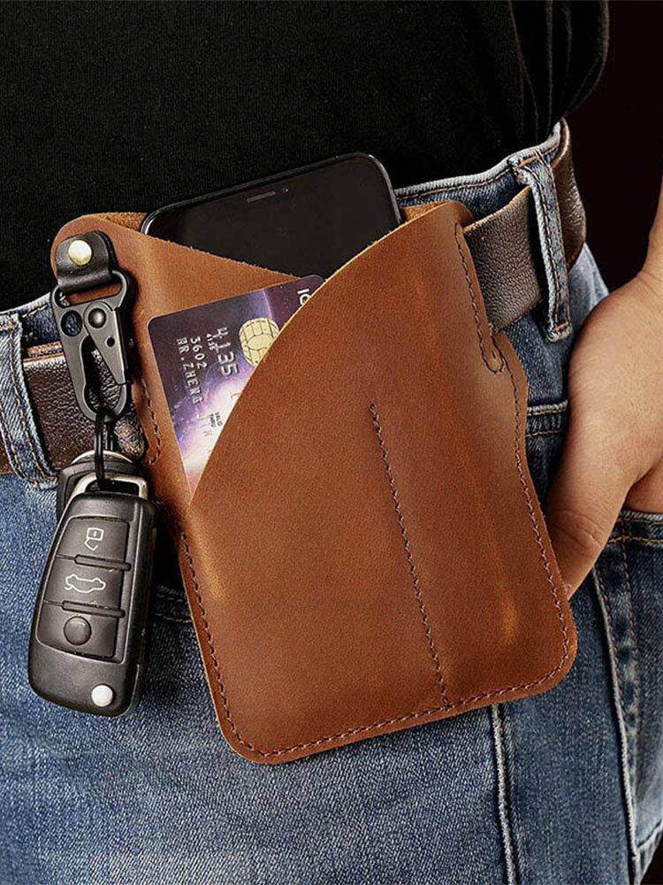 Men EDC Genuine Leather Retro 6.5 inch Phone Keychain Bag Belt Sheath
