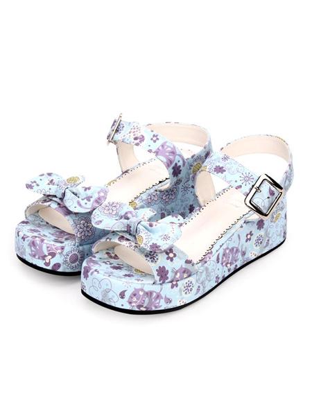Milanoo Sweet Lolita Sandals Print Bow Buckle Wedge Heel PU Lolita Footwear