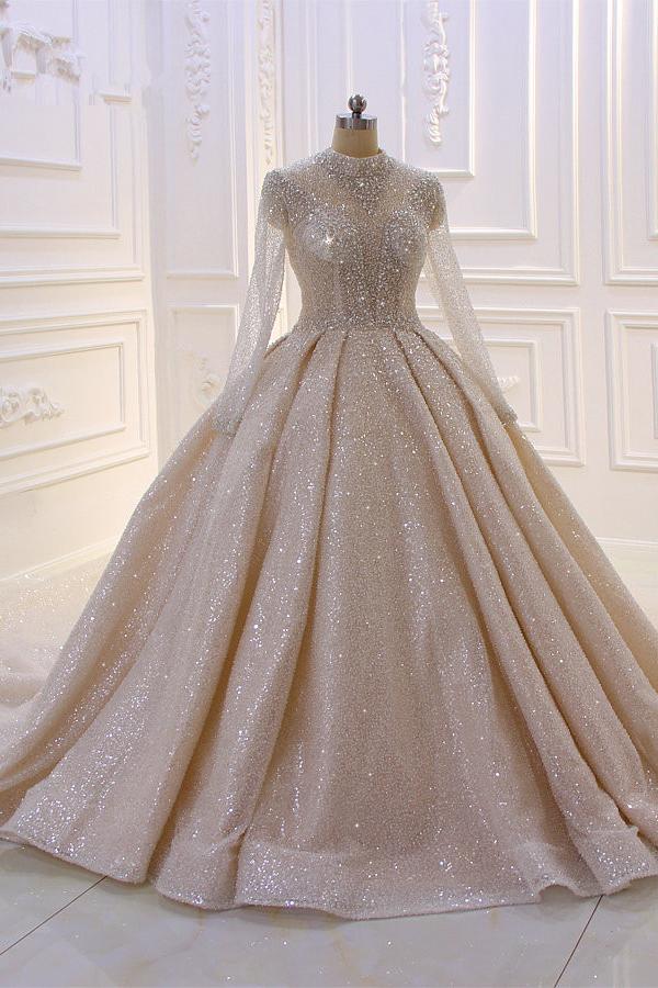Vestido de novia de manga larga con pliegues y lentejuelas brillantes Champange