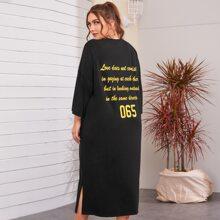 Plus Drop Shoulder Slogan Graphic Dress