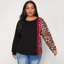 Plus Cut And Sew Contrast Leopard Tee