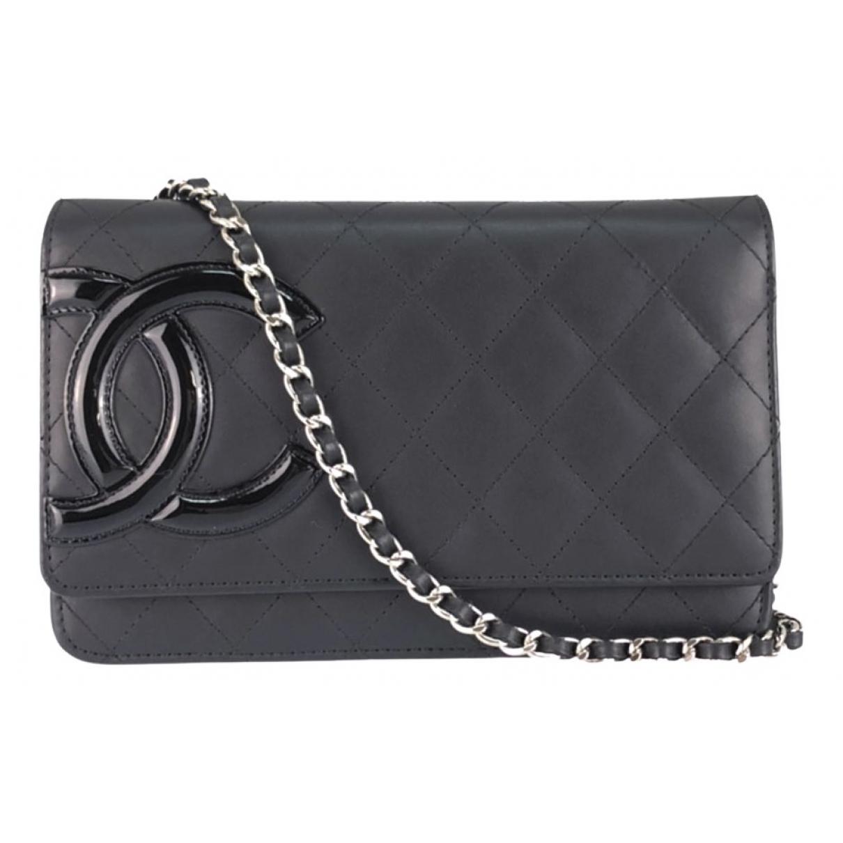 Chanel Wallet on Chain Clutch in  Schwarz Leder