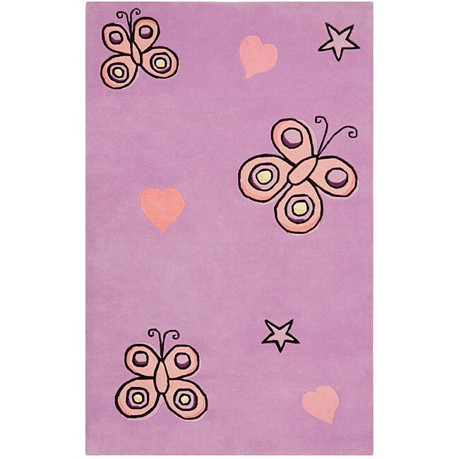 Purple Playful Butterfly Kisses Rug (Purple 5' x 5' Round)