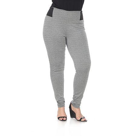 White Mark Womens Mid Rise Slim Pant-Plus, 2x , Gray