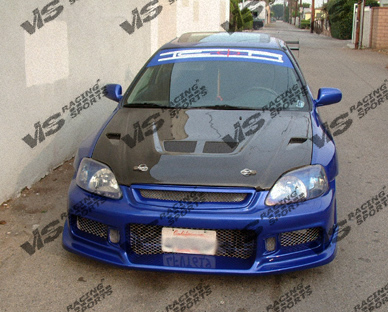 VIS Racing 99HDCVC2DEV-010C Carbon Fiber EVO Hood Honda Civic 99-00