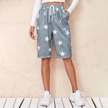 Rolled Hem Patch Pocket Star Print Shorts