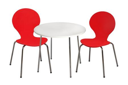 3012R Modern Children's Table and  2 Chair Set with Chrome Legs (Red Color
