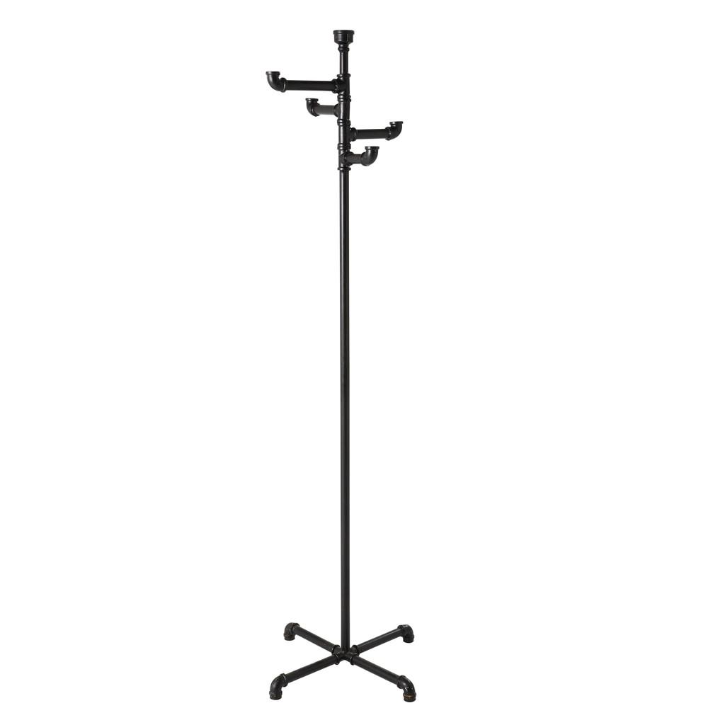 Garderobenstaender im Industriestil aus schwarzem Metall