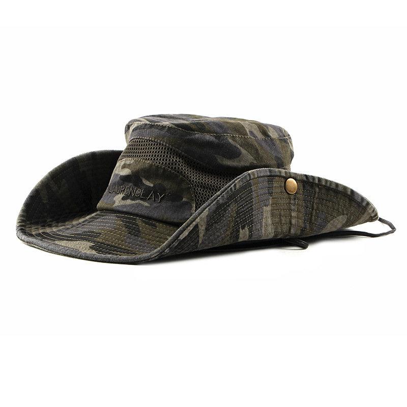 Mens Camouflage Cotton Embroidery Visor Bucket Hats Fisherman Hat Outdoor Climbing Mesh Sunshade Cap