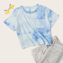 Crop T-Shirt mit Batik und Tasche