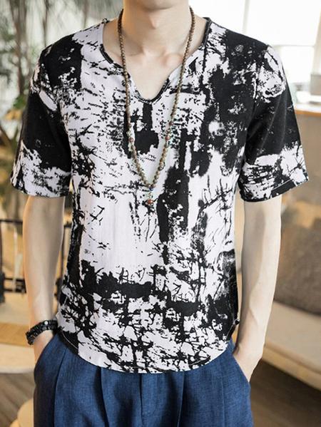 Yoins INCERUN Men Tie Dye V-neck Curved Hem T-Shirts