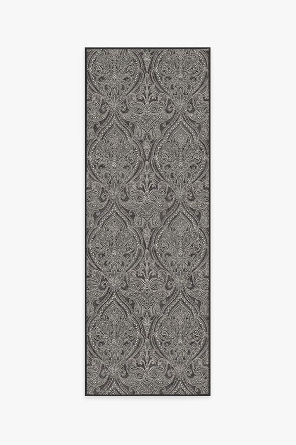 Washable Rug Cover & Pad | Lacis Damask Charcoal Rug | Stain-Resistant | Ruggable | 2.5'x7'
