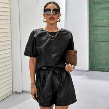 Batwing Sleeve PU Leather Top & Belted Shorts Set